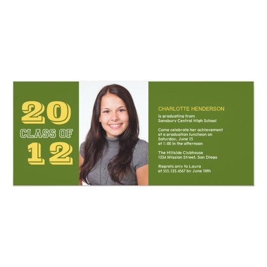 Graduation custom photo invitation green class of