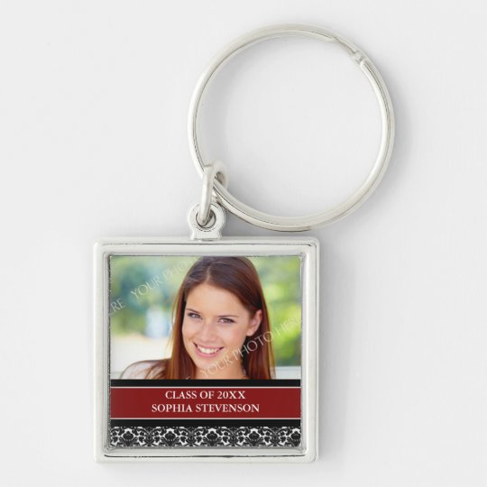 Graduation Custom Year Photo Keychains Red