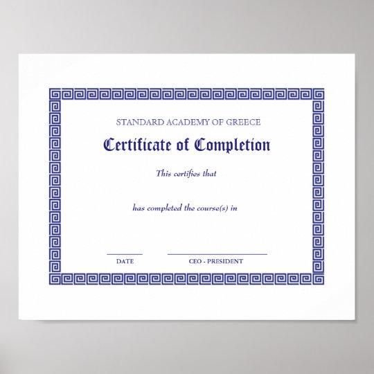 Graduation Diploma Certificate Greek Keys White Bk Poster