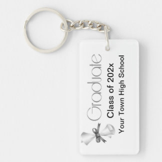Graduation Diploma Gray Single-Sided Rectangular Acrylic Key Ring