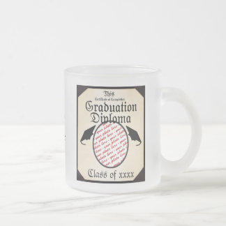 Graduation Diploma Photo Frame Frosted Glass Mug