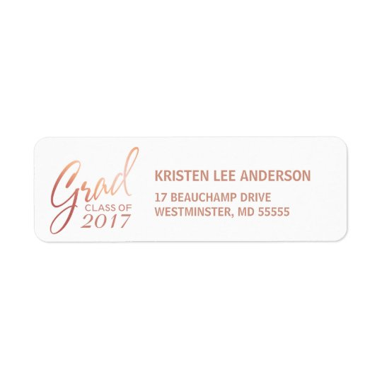 Graduation Faux Blush Rose Elegant Handwriting Return Address Label