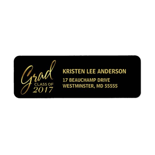 Graduation Faux Gold Foil Elegant Handwriting Return Address Label