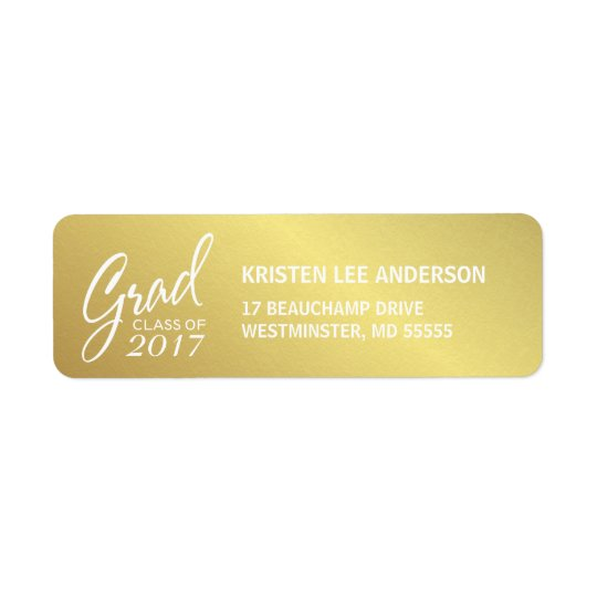 Graduation Faux Gold Foil Elegant Handwriting Return Address Label