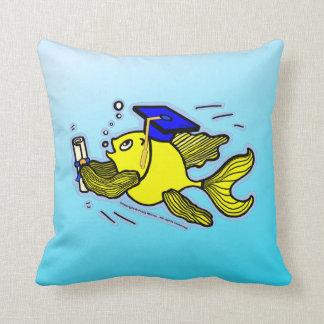 Graduation Fish Graduate funny comic blue cushion