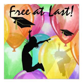 "Graduation - Free At Last -  SRF 5.25"" Square Invitation Card"