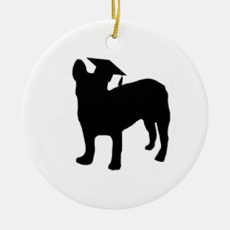Graduation Frenchie Round Ceramic Decoration