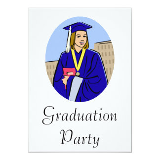 Graduation Girl Blue 13 Cm X 18 Cm Invitation Card