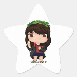 Graduation Girl Brown (A) Star Sticker