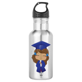 Graduation girl in blue 532 ml water bottle