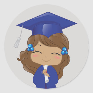 Graduation Girl in Blue Classic Round Sticker