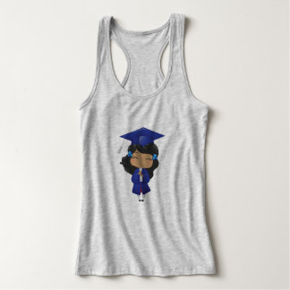 Graduation girl in blue tank top