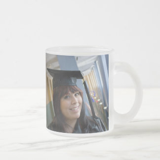 Graduation Girl in Cap and Gown Frosted Glass Mug