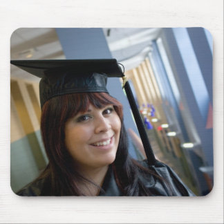 Graduation Girl in Cap and Gown Mouse Pad