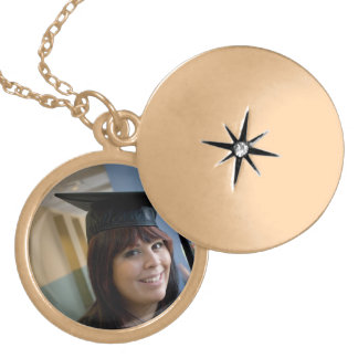 Graduation Girl in Cap and Gown Round Locket Necklace
