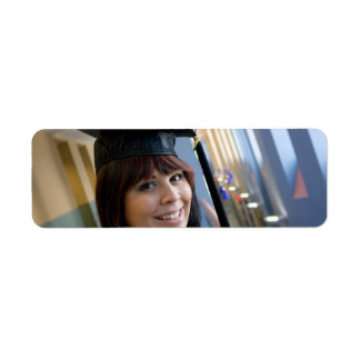 Graduation Girl in Cap and Gown Return Address Label