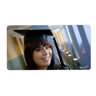 Graduation Girl in Cap and Gown Shipping Label