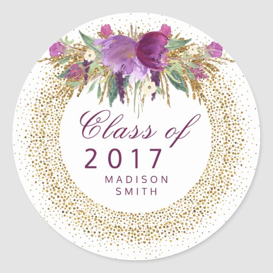 Graduation Glitter Watercolor Flower Gold Confetti Classic Round