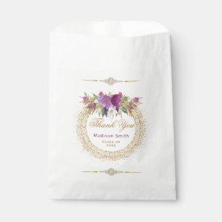 Graduation Glitter Watercolor Flower Gold Confetti Favour Bags
