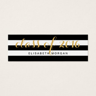Graduation Gold Calligraphy Black White Stripes Mini Business Card