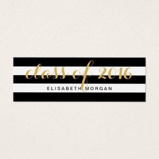Graduation Gold Calligraphy Black White Stripes Mini Business Card