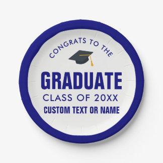 Graduation Grad Cap Class of 2018 Blue Custom Paper Plate