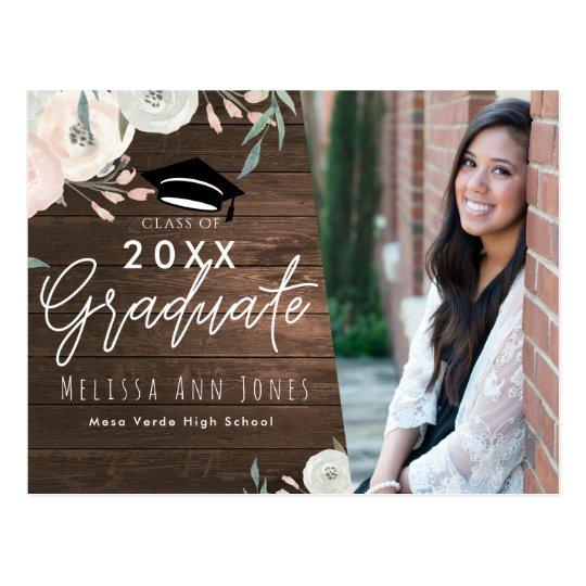 Graduation Graduate Rustic Wood Floral Chic Photo Postcard