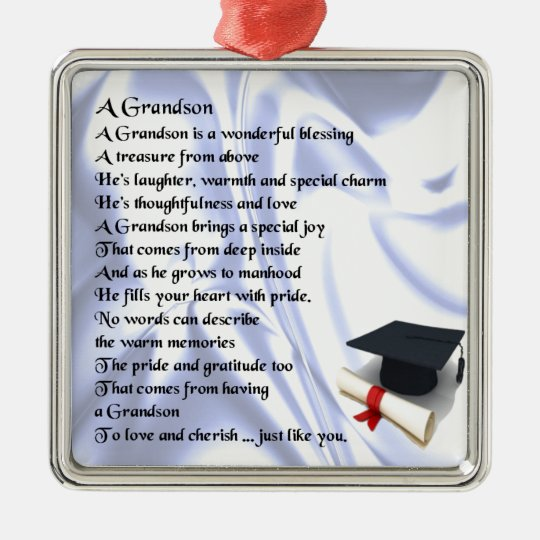 Graduation Grandson Poem Christmas Ornament