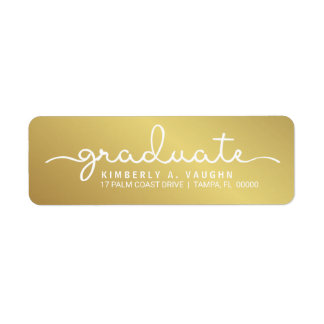 Graduation Handwritten Gold Shimmer Script Return Address Label