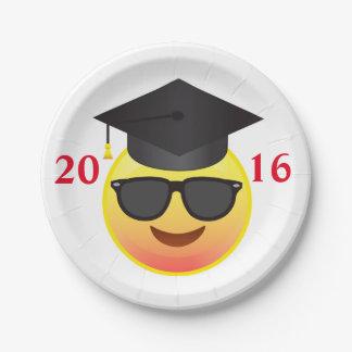 Graduation Happy Sunglasses Emoji Party Plate 7 Inch Paper Plate