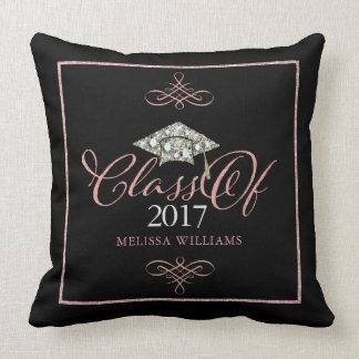 Graduation Hat & Rose Gold Typography Grad Of 2017 Cushion