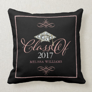 Graduation Hat & Rose Gold Typography Grad Of 2017 Throw Pillow