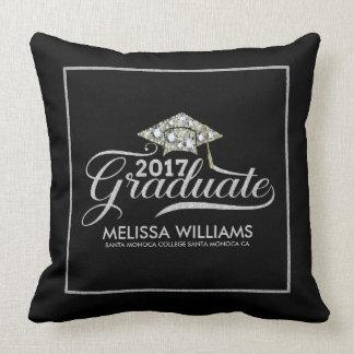 Graduation Hat & Silver Typography Graduate 2017 Cushion