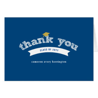 Graduation Hat Sketch Blue Photo Thank You Card
