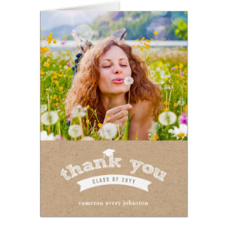 Graduation Hat Sketch Grad Photo Thank You Card