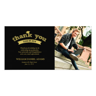 Graduation Hat Sketch Grad Photo Thank You Card Customised Photo Card