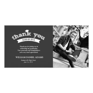 Graduation Hat Sketch Grad Photo Thank You Card Photo Card Template