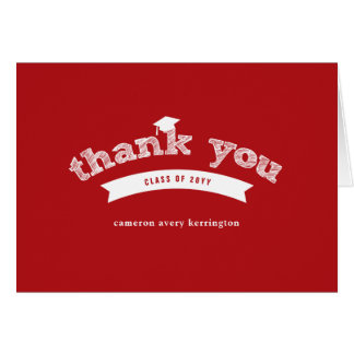 Graduation Hat Sketch Red Photo Thank You Card