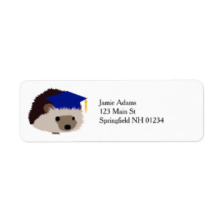 Graduation Hedgehog Return Labels - Blue