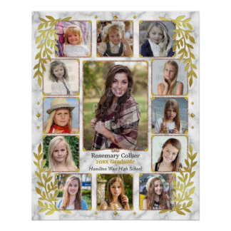 Graduation High School Photo Collage   Marble Gold