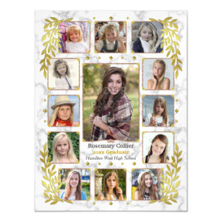 Graduation High School Photo Collage | Marble Gold Magnetic Invitations