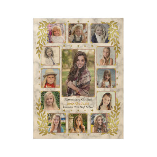 Graduation High School Photo Collage   Marble Gold Wood Poster