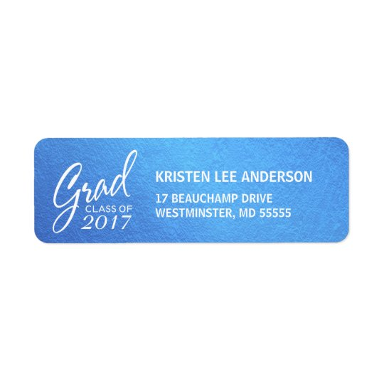 Graduation Ice Blue Faux Foil Elegant Handwriting