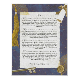 Graduation, IF Inspiring Poem by Rudyard Kipling Poster