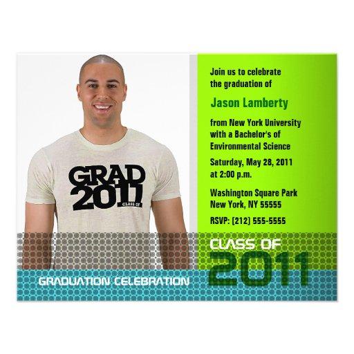 Graduation Invitation Add Photo Green B6