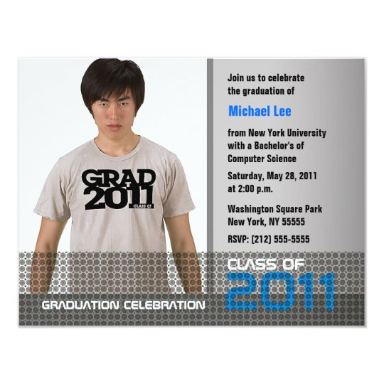 Graduation Invitation Add Photo Grey B9