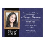 Graduation Invitation - Gold Frame & Damask - Blue