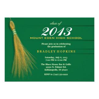 Graduation Invitation - Green & Gold Invite