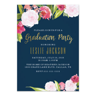 Graduation invitations - graduate - Navy & Gold