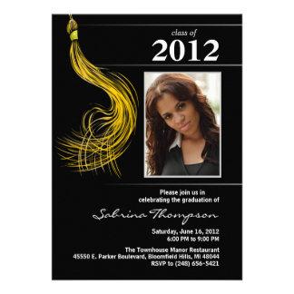 Graduation Invite Black with Gold Tassel - Photo